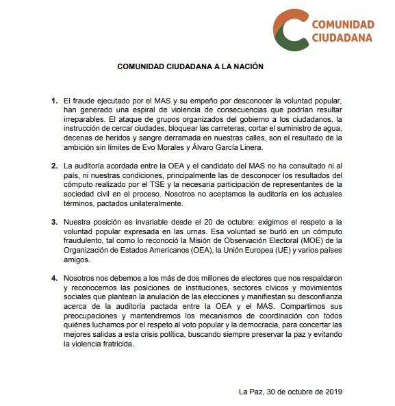 Comunicado oficial de Comunidad CIudadana sobre la auditoría de la OEA.