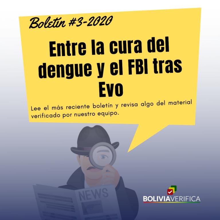 Entre la cura del dengue y el FBI tras Evo. Boletín 3 – 2020