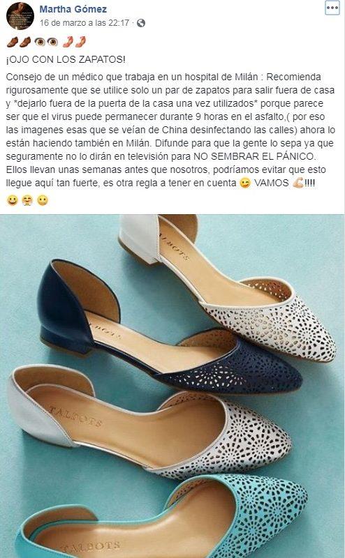¿Hay posibilidades de contagiarse con el coronavirus a través de los zapatos?