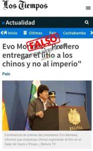Atribuyen a Los Tiempos una noticia falsa sobre Evo
