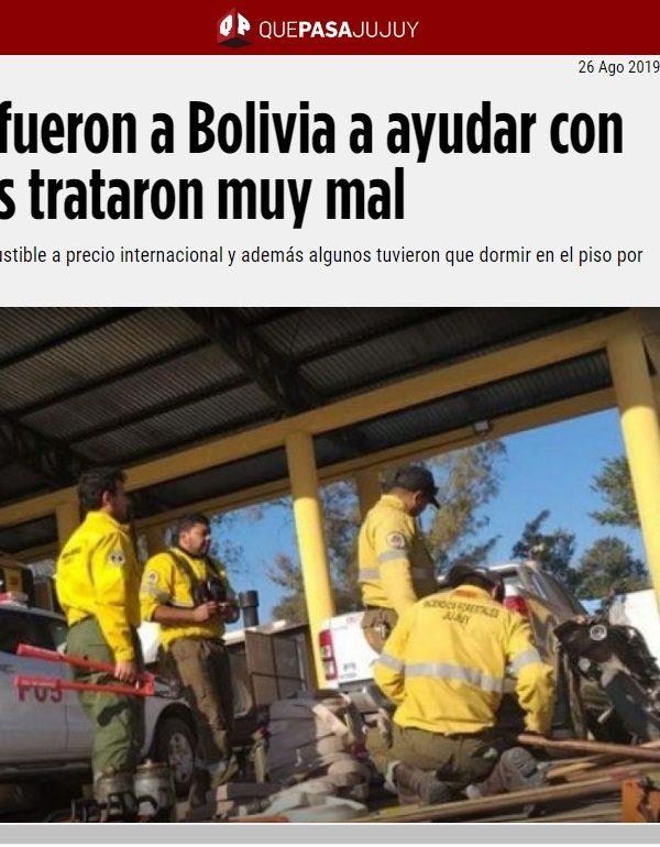 Bomberos jujeños niegan maltrato en Bolivia