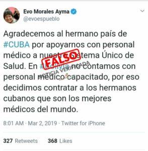 Circula una captura de pantalla falsa de un tuit de Evo Morales
