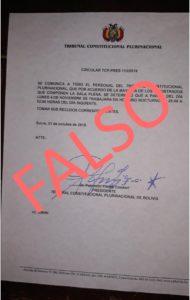 Circular del Tribunal Constitucional Plurinacional es falso