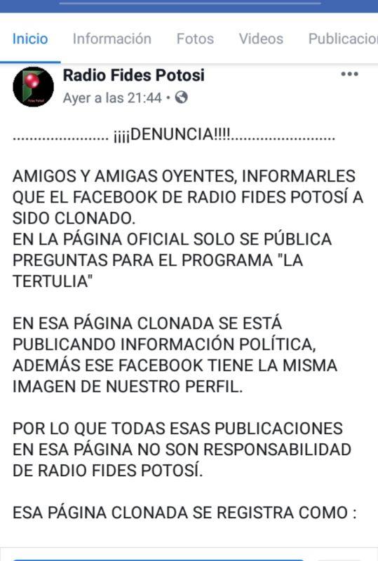 Clonaron el Facebook de Radio Fides Potosí