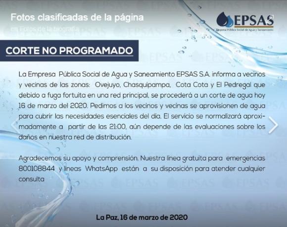 Corte de agua en cuatro barrios del sur de La Paz