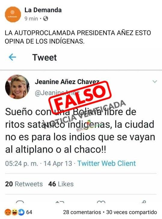 Difunden tuit falso de la Presidenta Jeanine Añez