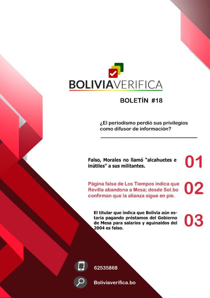 ¿El periodismo perdió sus privilegios como difusor de información? – Boletín 18 Bolivia Verifica 2019