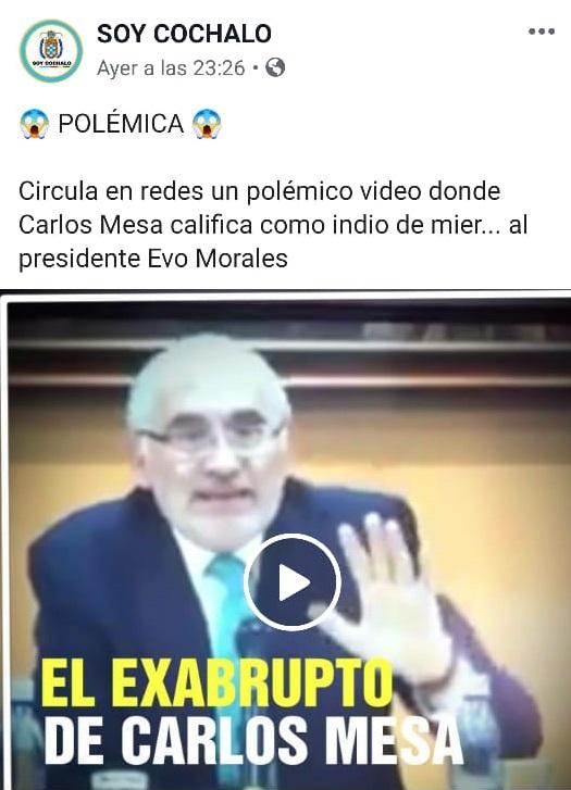 Engañoso video sobre una declaración de Carlos Mesa