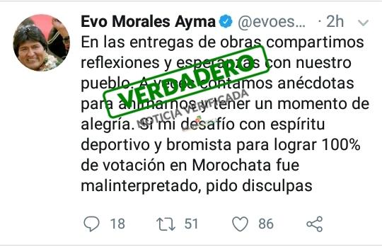 Evo Morales pide disculpas por declaraciones en Morochata