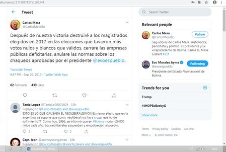Falsa cuenta de Twitter postea en nombre de Carlos Mesa