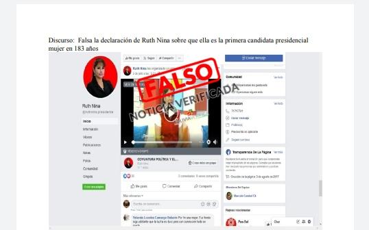 Falsa la declaración de Ruth Nina sobre que ella es la primera candidata presidencial mujer en 183 años