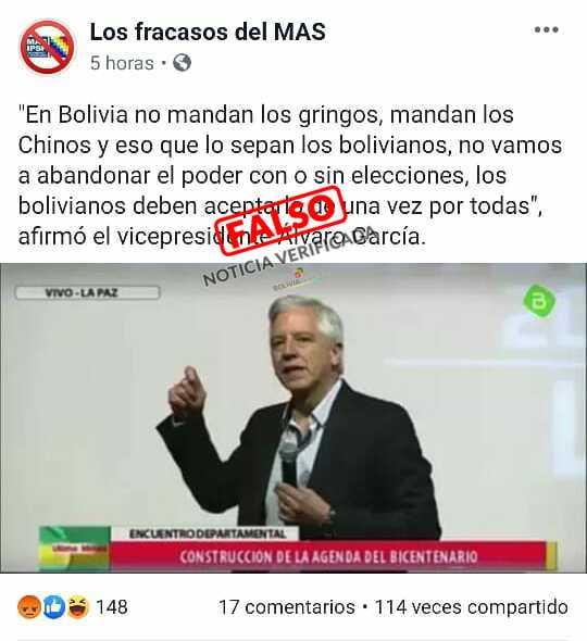 Falsa la nota sobre las declaraciones de García Linera