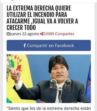 Falsa publicación sobre el incendio en la Chiquitanía que alude a Evo Morales