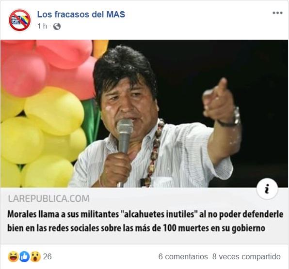 "Falso, Morales no llamó ""alcahuetes e inútiles"" a sus militantes"