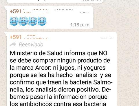 Falso que Ministerio de Salud advierte que productos Arcor contienen Salmonella