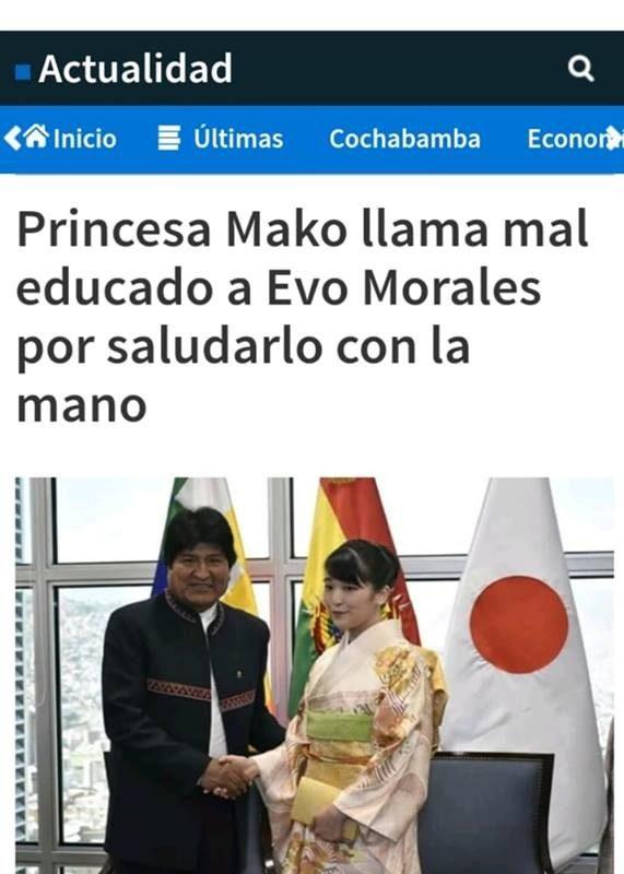 Falso que princesa Mako critica a Evo Morales