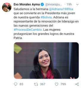 Falso tuit atribuido a Evo Morales sobre Adriana Salvatierra