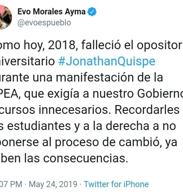 Falso Tuit de Evo Morales sobre la muerte de Jonathan Quispe