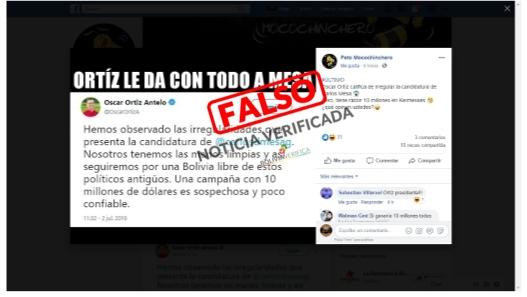 Falso tuit de Oscar Ortiz en el que califica de irregular la candidatura de Carlos Mesa