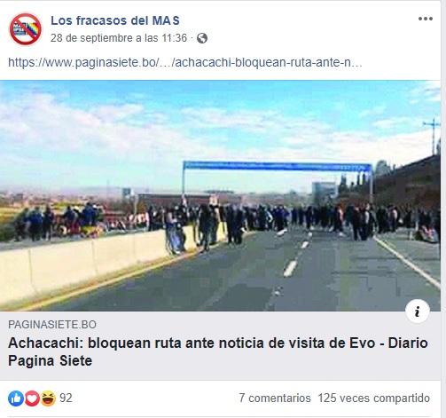 Los bloqueos en Achacachi para rechazar a Evo fueron en 2018