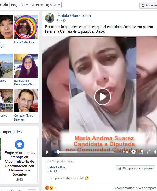 Mujer que insulta al MAS y a Evo no es candidata de CC