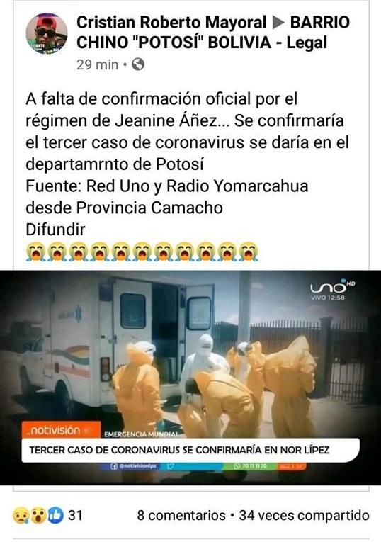 Notivisión no difundió noticia de un tercer caso de Covid-19 en Nor Lípez
