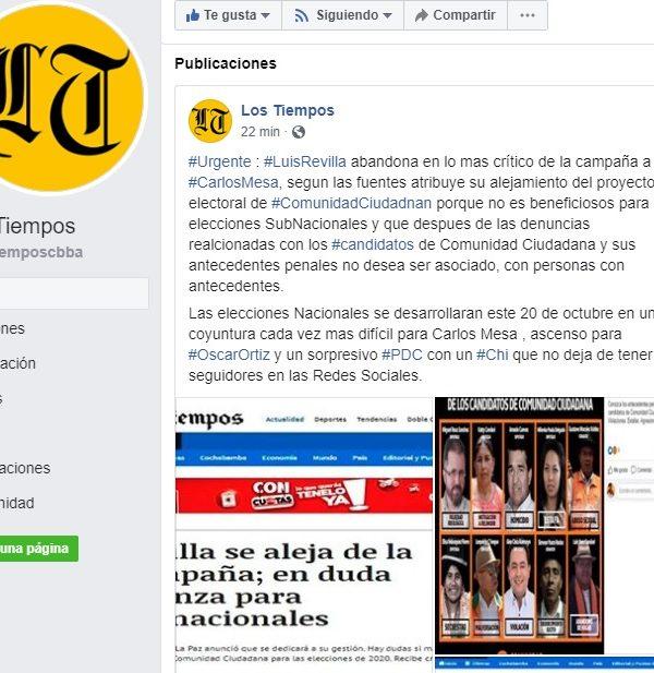 Página falsa de Los Tiempos indica que Revilla abandona a Mesa; desde Sol.bo confirman que la alianza sigue en pie