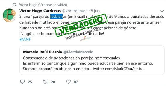 Retuit de Víctor Hugo Cárdenas sobre infanticidio