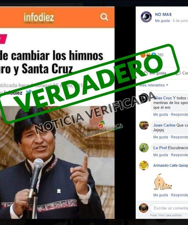 Verdadero: Evo pide cambiar los himnos de Oruro y Santa Cruz