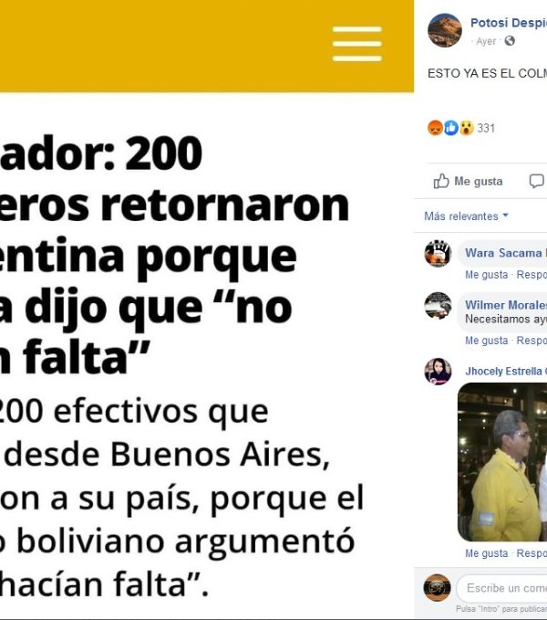 Verdadero que Embajador de Argentina lamenta que 200 bomberos tuvieran que retornar a su país