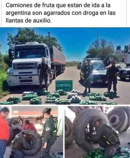 No detuvieron un camión frutero con droga en las llantas