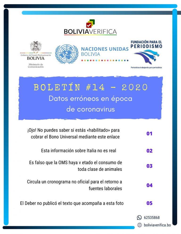 Datos erróneos en época de coronavirus – Boletín 14 – 2020