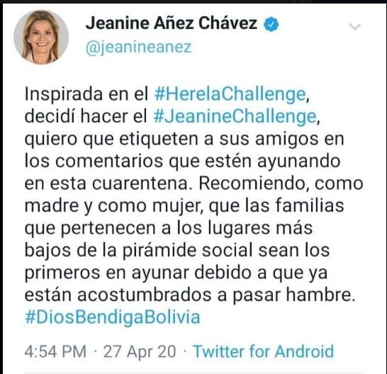 Viralizan tuit falso de Jeanine Áñez con connotaciones racistas