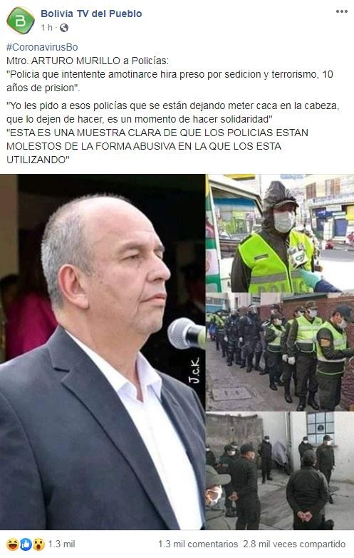 Ministro Arturo Murillo NO amenazó con apresar policías