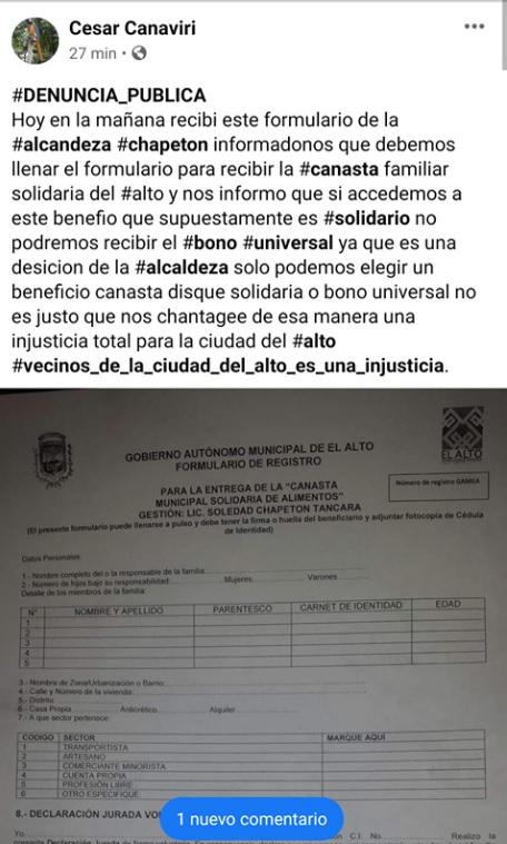"""No es cierto que la """"canasta solidaria de El Alto"""" esté restringida a quienes reciban los bonos del gobierno"""