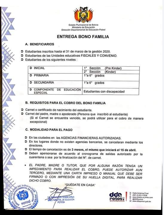 Comunicado sobre el pago del «bono familia» genera confusión en Potosí