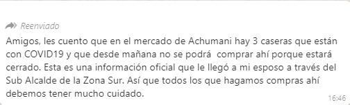 Caseras del mercado de Achumani no tienen COVID-19