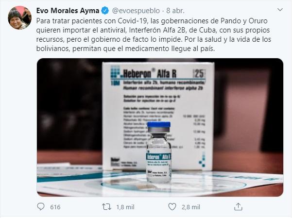 Evo afirma que Oruro y Pando quieren comprar Interferon Alfa 2B, pero es falso