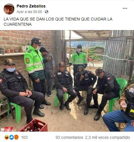 ¡Falso! Imagen de serenos bebedores en Perú se difunde como si fueran policías bolivianos