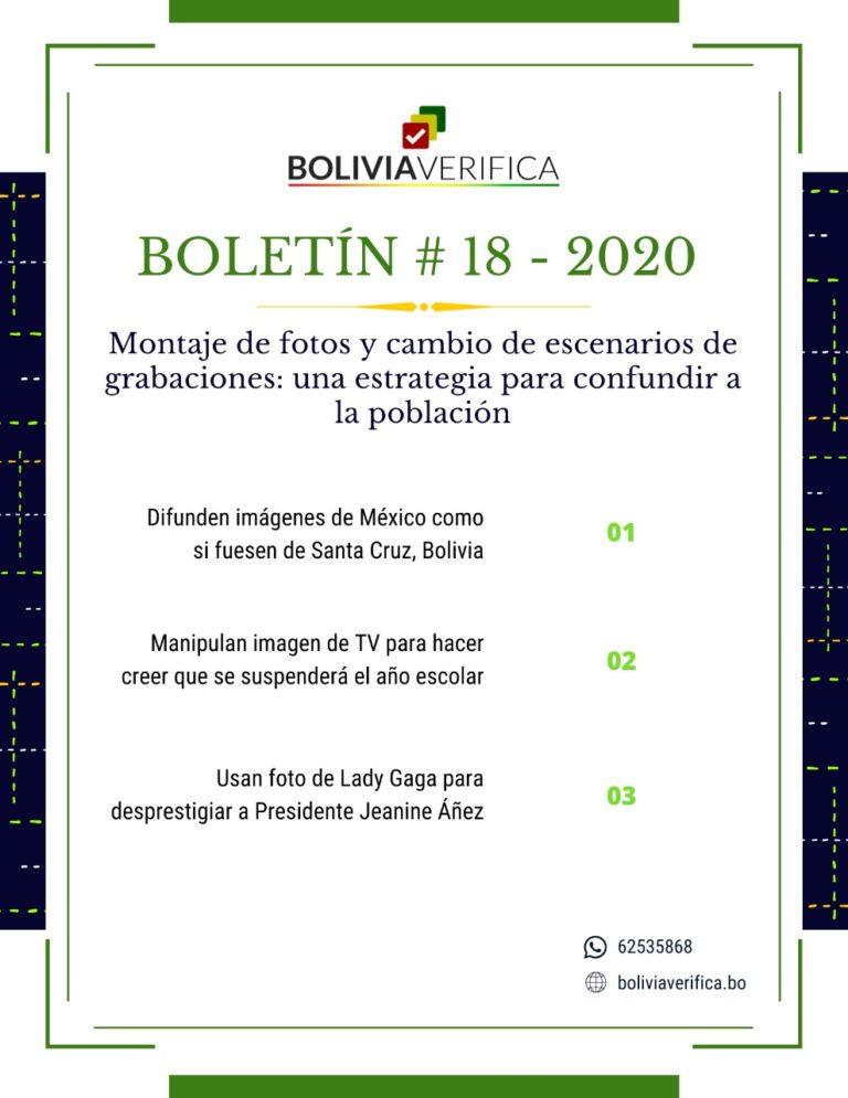 Montaje de fotos y cambio de escenarios de grabaciones: una estrategia para confundir a la población – Boletín 18 – 2020