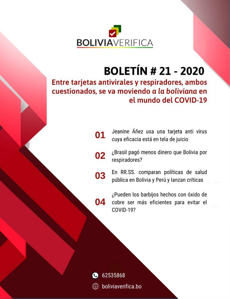 Entre tarjetas antivirales y respiradores, ambos cuestionados se va moviendo a la boliviana en el mundo del COVID-19 – Boletín 21 – 2020