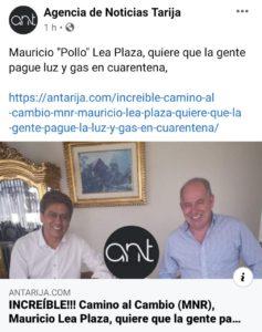 La publicación hace referencia a un supuesto acuerdo de la agrupación Camino al Cambio para quitar la subvención de agua y luz desde la Asamblea Departamental de Tarija.