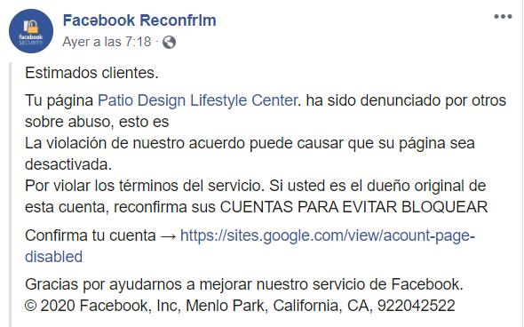 Facebook no está pidiendo reconfirmar las cuentas de negocios