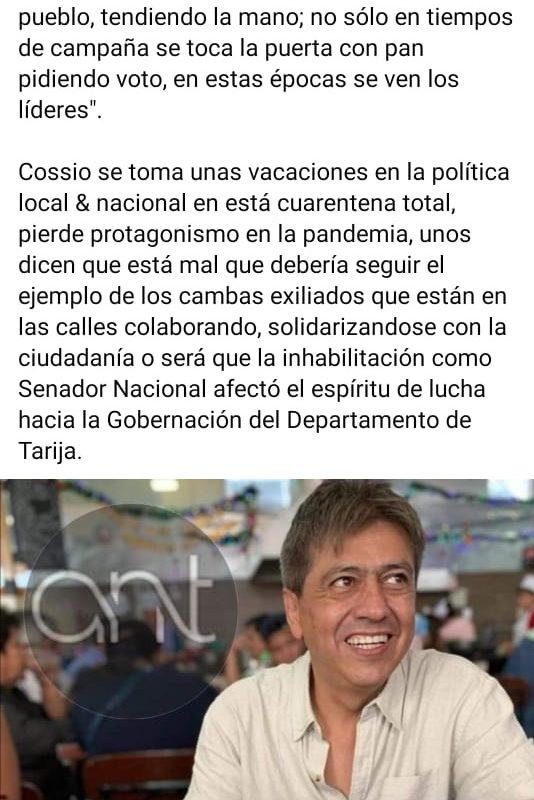 Es falso que Mario Cossío se encuentre en Paraguay
