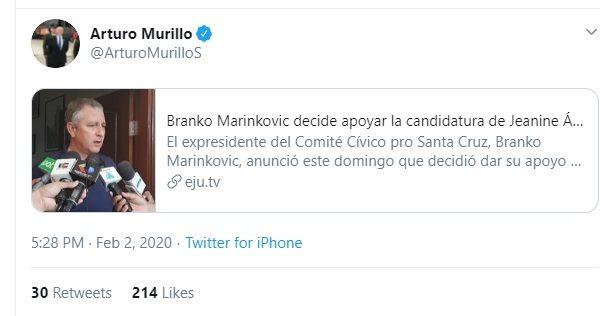 Branko no firmó ninguna alianza con Áñez