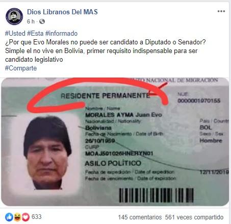 Esta tarjeta de residencia de Evo no es de Argentina, sino de México