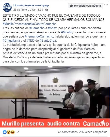 Nuevamente circula un vídeo en el que acusan a Camacho de incendiar la Chiquitanía