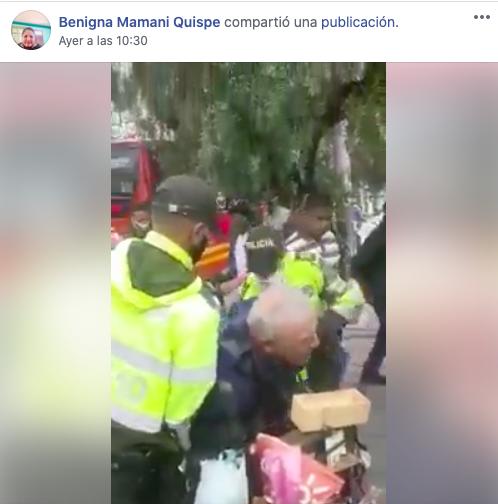 Policías de Colombia abusan a un anciano y en Facebook atribuyen ese hecho a uniformados bolivianos