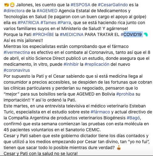 Patricia Tames Parra, esposa de César Galindo, es víctima de una publicación falsa