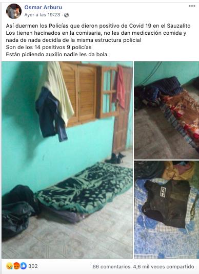 Circulan fotografías de «abandono» a policías con COVID-19 como si fuese en Bolivia